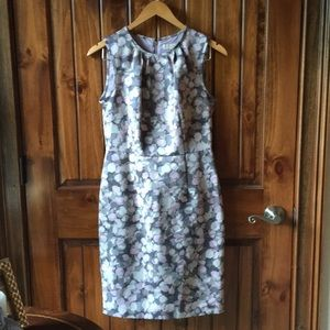LOFT Ann Taylor Floral Lavender Gray Dress